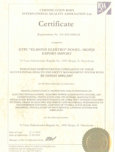 Certificate BS OHSAS 18001:2007